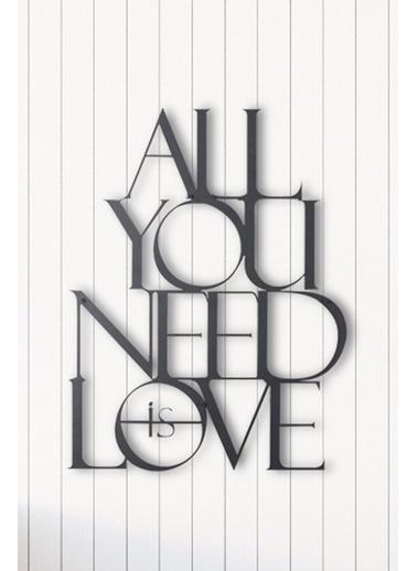 Angemiel Home Tek İhtiyacın Aşk Metal Duvar Tablosu Siyah